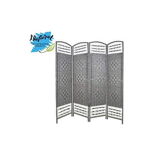 Home Line Biombo Separador de ambientes, Economico,Blanco y Negro,Bambu Natural, 3 Paneles. Varias Medidas. - 4 Paneles
