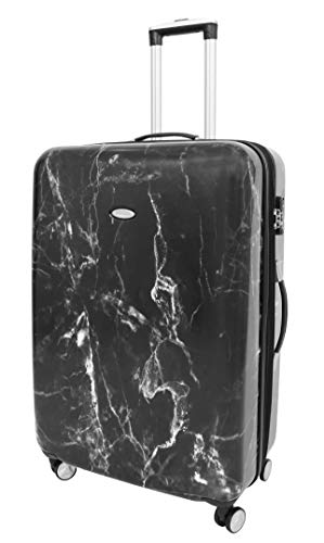 4 Wheel Suitcases Hard Shell Luggage Marble Print Expandable TSA Lock Zipped Travel Bags HLG982 Black (Large : 76x50x30cm/ 4.20KG, 100L/15L)