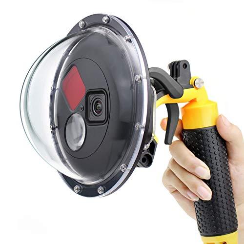 GEPULY Kuppelanschluss für GoPro Hero 9 schwarz, Dome-Port-Objektiv mit wasserdichtem Gehäuse, Auslöser, schwimmender Handgriff, eingebautem umschaltbarem Rotfilter und 10x Makro-Filter