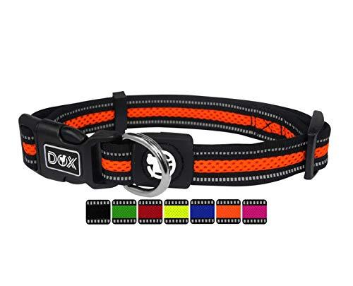 DDOXX Hundehalsband Air Mesh, reflektierend, verstellbar, gepolstert | viele Farben | für kleine & große Hunde | Halsband Hund Katze Welpe | Hunde-Halsbänder | Katzen-Halsband klein | Orange, L