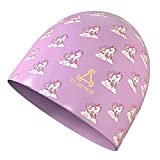 FUNOWN Silicone Kids Swim Cap for (Age 2-12), Durable Silicone Swimming Cap for Kids Youths Boys Girls, Baby Waterproof Bathing Caps for Long Hair and Short Hair with Comfortable Fit (Purple)