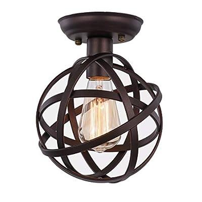 Metal Globe Ceiling Light SEEBLEN Semi-Flush Mount Pendant Ceiling Light with Mini Metal Cage Ceiling Lighting Fixture