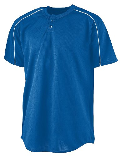 Augusta Sportswear Herren Wicking Two-Button Baseball Jersey S White Hemd, Royal/Weiß, Klein