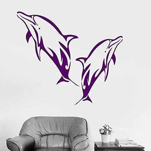 yaonuli Dolphin Wandtattoos Home Decoration Badezimmer Kinderzimmer Kinderzimmer Vinyl Aufkleber Wandbild 64X79cm