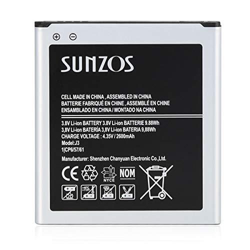 SUNZOS - Batería para Samsung Galaxy J3 2016 (SM-J320F), J5 2015 (SM-J500FN), Galaxy Grand Prime equivalente al tipo original EB-BG530BBE/BG531, 2600 mAh