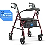 Medline Rollator Walker with Seat, Steel Rolling Walker with 6-inch Wheels Supports up to 350 lbs, Medical Walker,...