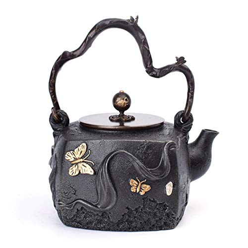 Butterfly Pattern Cast Iron Teapots Tetsubin Tea Kettle with Anti Rust Inner Wall and Copper Lid, for Electric Ceramic Stove Heating, 1300ML