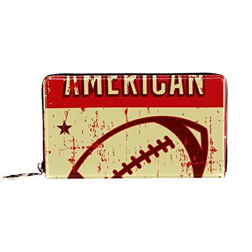 Damen Geldbörse mit Reißverschluss und Handy, Clutch, Reisetasche, Kartenhalter, Organizer, Handgelenke, American Football, Rugby, Sport, Retro Pop Art