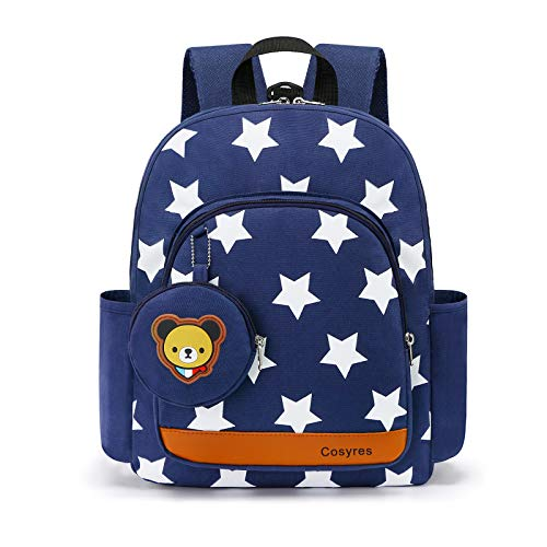 Cosyres Star Toddler Kids Backpack Rucksack for Boys/Girls Kindergarten Backpack for Nursery, Small, Dark Blue