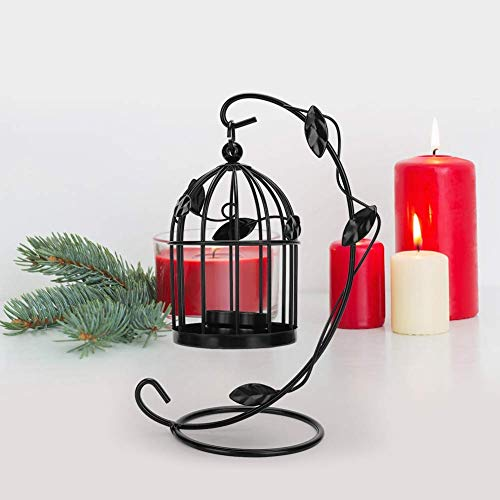 HERCHR Linterna de Vela con Forma de Jaula, candelero Hueco para Velas de Pilar, candelabros Decorativos para decoración del hogar de la Boda(Negro)