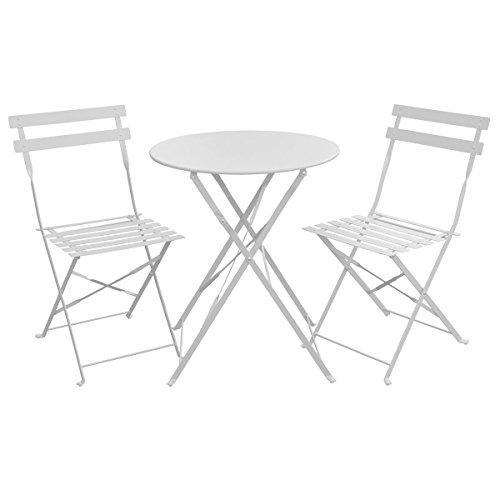 SVITA Bistro-Set 3-teilig Gartenset Garnitur Metall-Möbel Stuhl Tisch Kapp-Möbel Balko-Set Blau Weiß Schwarz Grau (Weiß)