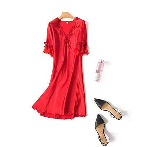 ASADVE Verano Casual para Mujer camisón Kimono Albornoz Vestido Pijamas Cortos Pijamas Suaves y sedosos Bata de casa-Rojo_SG
