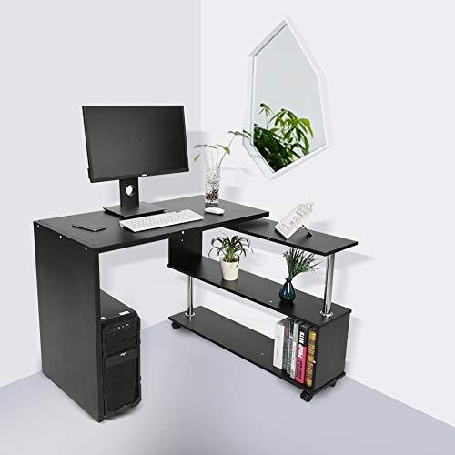 AYNEFY Escritorio Combinación Ángulo Escritorio Esquina Escritorio Giratorio Mesa de Ordenador con 4 Ruedas Mesa de Trabajo Escritorio de Oficina para Hogar Oficina 48 x 100 x 75 cm (Blanco)