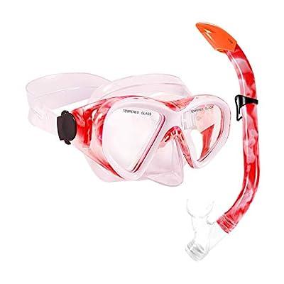 KUSTAR Snorkel Set Kids, Semi-Dry Snorkeling Set Anti-Fog Children Snorkel Mask, Impact Resistant Panoramic Tempered Glass Easy Breathing for Youth Junior Girls,Boys (Red)