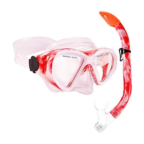 Schnorchelset Kinder Schnorcheln Taucherbrille mit 180° Panorama Sichtfeld Tauchmaske Schnorchelmaske Tauchen Set wasserdichte Schnorchelbrillen für Junge Mädchen (Rot)