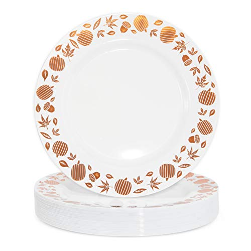 Plastic Thanksgiving Plates, Copper Foil Leaf Trim, Fall Tableware (9 In, 24 Pack)