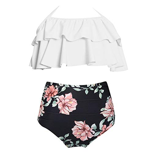OSYARD Damen Tankini Blumenmuster Ruffles Badeanzüge Halfter Hals Zwei Stück Badeanzug Beachwear Bikini Set 2019 Mode Bademode Strandkleidung Swimsuit