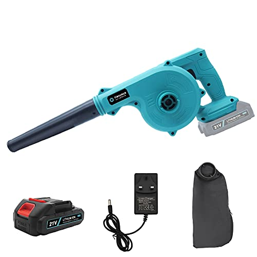 Haoyeya 21V Cordless Leaf Blower 2 in 1 Electric Handheld Sweeper Vacuum with Lithium Battery 68000H and Charger for Blowing Leaf Cleaning Dust Small Trash Car Corner Cleaning