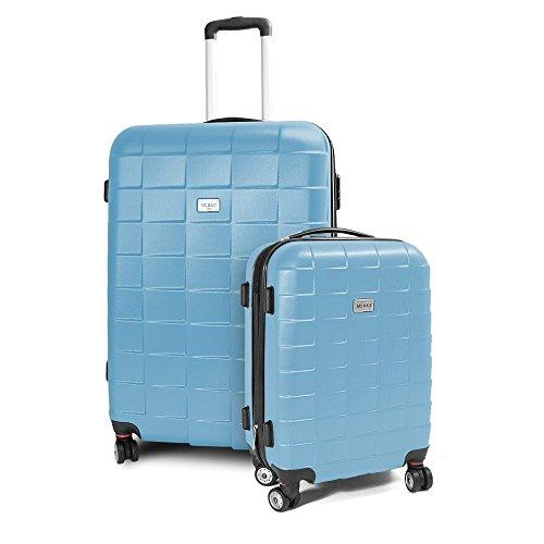BERWIN Kofferset M + XL 2-teilig Reisekoffer Trolley Hartschalenkoffer ABS Teleskopgriff Modell Squares (Himmelblau)