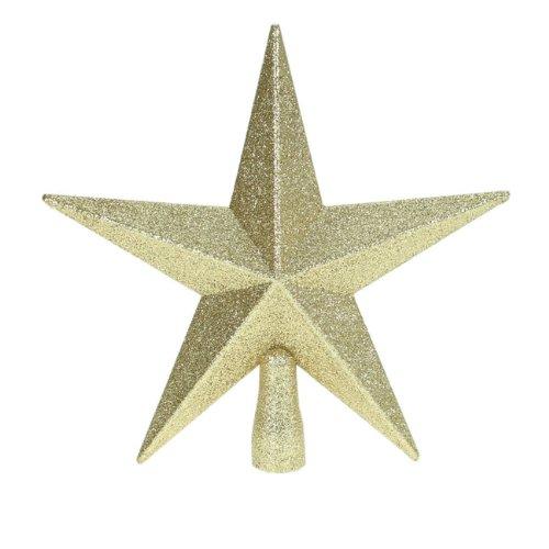 Sternförmige Christbaumspitze, glitzernd, 20cm, goldfarben
