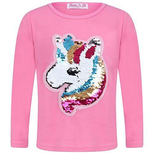 Aelstores Sudadera para niñas con diseño de Unicornio y Lentejuelas, para niños de 3 a 14 años Rosa Rosa 11-12 Años