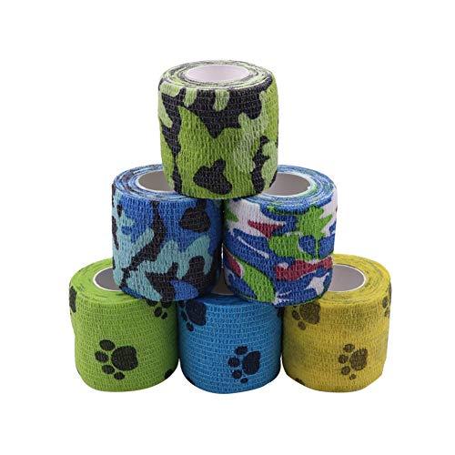Houdao 6 rollos de vendajes autoadhesivos para mascotas, envoltura veterinaria para perros y caballos, vendajes elásticos deportivos cohesivos de 5 m para dedos, muñecas, rodillas, tobillos