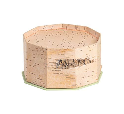 MOYA Brotkasten aus natürlicher Birkenrinde/Brotglocke-Brotbox-Brottopf-Brotbehälter mit integriertem Schneidebrett als Deckel – antibakterielle und lebensmittelechte Brotdose 23x23x13cm, Birke