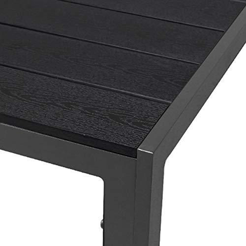 FineHome Aluminium Polywood Gartentisch Esstisch Gartenmöbel anthrazit/schwarz Tisch Holzimitat wetterfest 160x90x74cm