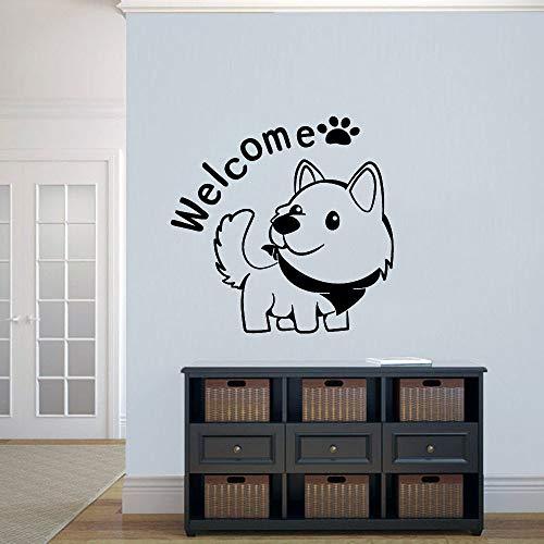 wopiaol Willkommen Wandtattoos Hund Niedliche Tiere Haustiere Shop Wohnzimmer Kinderzimmer Wohnkultur Kunst Tür Fenster Vinyl Aufkleber Wörter Wandbild
