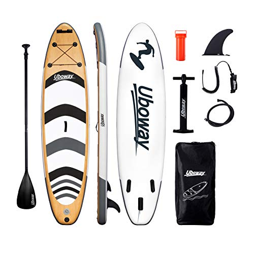 Uboway Inflatable Paddle Boards Stand Up: 10/11 feet SUP with Adjustable Paddle...
