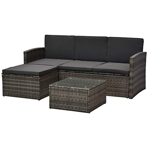Outsunny Dreiteiliges Gartenmöbel Set, Rattan Sitzgruppe, Sitzgarnitur, Sofa mit Sitzkissen, Kaffeetisch, Fußhocker, Stahl, Grau, 182 x 72 x 76,5 cm