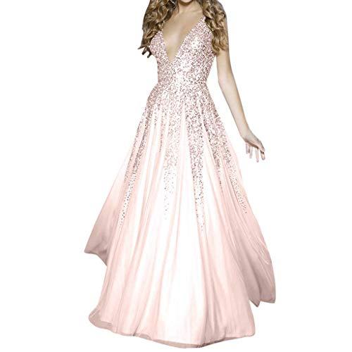 LANSKRLSP Vestiti Donna Elegante, Donna Paillettes Vestito Lunghe Formale Cerimonia Vestito da Sera Abito Lungo Senza Maniche