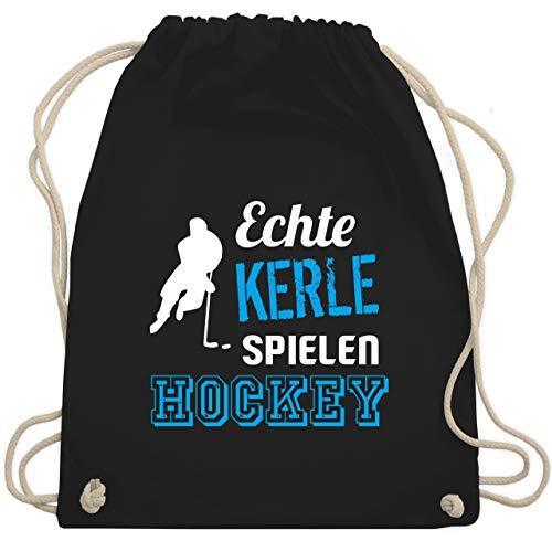 Shirtracer Eishockey - Echte Kerle spielen Hockey - Unisize - Schwarz - eishockey - WM110 - Turnbeutel und Stoffbeutel aus Baumwolle
