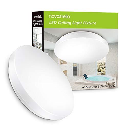 Novostella Plafonnier LED 15W, Lampe de Plafond Etanche IP44 Salle de Bain, Equivalent à 100W, 6000K Blanc Froid, 1200lm, Eclairage Intérieur Rond Chambre Cuisine Salon, Ustellar