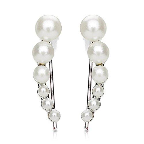 viva-adorno® 1 Paar Damen Ear Crawler Ohrringe Ohrklemme Perlen weiß EC1.D5