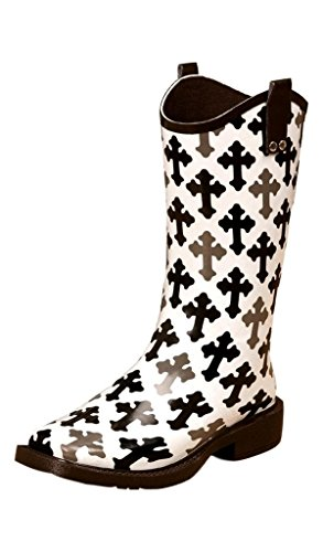 Blazin Roxx Women's Caroline Hope Cross Rain Boot Square Toe Blk/White 7 US