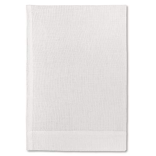 Cuore di lino - Toalla ligera para invitados de puro lino 100 % fabricada en Italia, moderna, color blanco crema (40 x 60 cm).