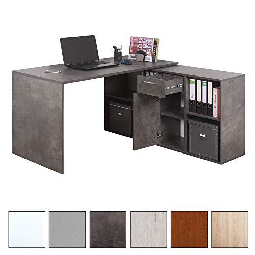 RICOO Schreibtisch WM081-BG Holz Dunkel Betongrau | Winkelkombination Arbeitstisch Computer Tische Office Table Bürotisch Computertisch Gaming...