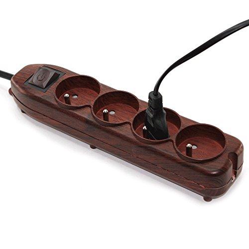 FISHTEC  Multipresa Ciabatta Elettrica a 4 Posti - Pattern Legno - Interruttore - cavo 1,5 m
