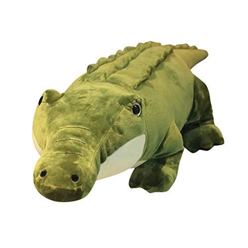 Plüschtier Krokodil, Weich Plüsch Cartoon Simulation Krokodil Kuscheltier Niedliche Spielzeug Plüschpuppe Kissen Weihnachts Geschenk Hauptdekoration Grün (90 cm)