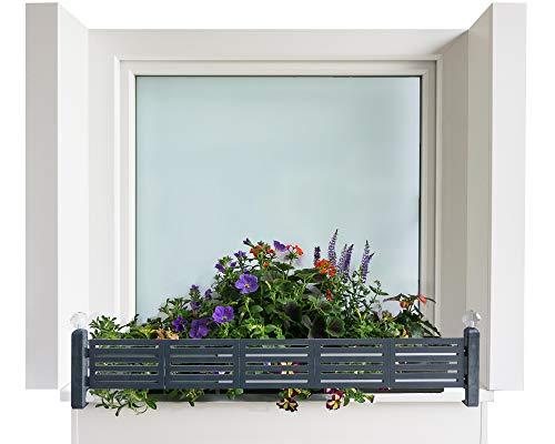 GREEN CREATIONS Blumenkastenhalterung masu Basis-Set passt auf Jede Fensterbank von 78 cm bis 140 cm ohne Bohren, ohne Beschädigung der Fassade (Anthrazit, Basis-Set: modern)