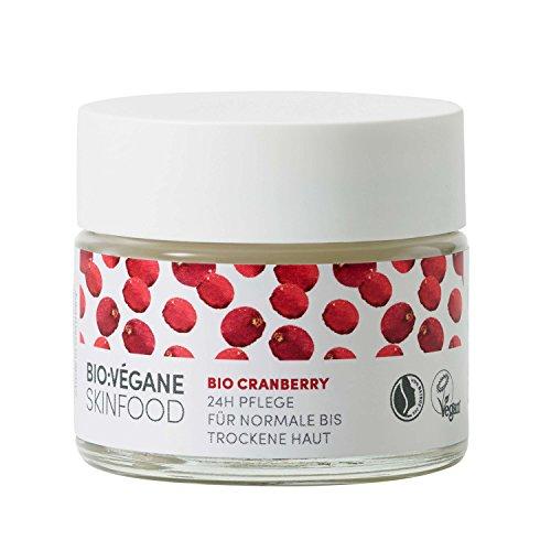 BIO:VÉGANE SKINFOOD Bio Cranberry - 24h Pflege für normale bis trockene Haut, vegan, NATRUE-zertifiziert, anhaltende Pflege für feuchtigkeitsarme Haut, 1er Pack (1 x 50 ml)