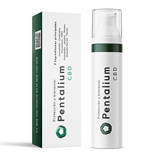 Pentalium CBD - Cannabidiol Crema Antiinflamatoria Para el Alivio de Dolores Musculares y Articulaciones - Pomada Antiinflamatoria con Glucosamina, Condroitina y MSM (75g)