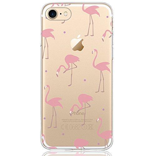Oveo kompatibel mit iPhone 7/8 Hülle, Dolce Vita Serie Transparente Silikon Handyhülle Accessoires für Damen/Mädchen, Durchsichtig mit Rot Rosa Flamingo Muster