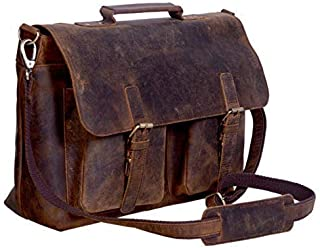 Pela Briefcase 15 Inch Retro Buffalo Hunter Leather Laptop Messenger Bag Office Briefcase College Bag Fits Upto 15.6 Inch (Distressed Tan)