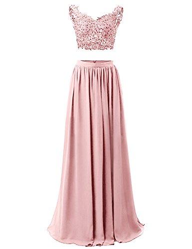 WADAYUYU Damen A-line Elegant Abendkleider Abendkleid Lang Ärmellos Ballkleider Brautjungfernkleid 2017 Mit Applique Blush 36