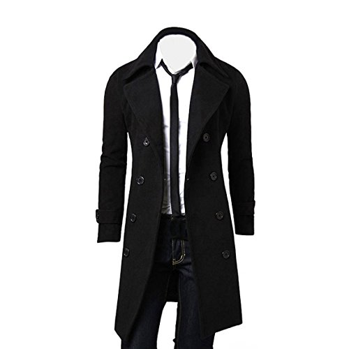 OverDose Hombres de Invierno Slim Elegante Trench Coat Double Breasted Chaqueta Larga Parka (XL, Negro)