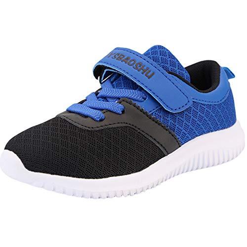 Minbei Kinder Turnschuhe Jungen Hallenturnschuhe Jungs Sportschuhe Anti-Slip Ultraleicht Atmungsaktiv Unisex Sneakers Schwarz/Blau Größe 32 EU/CN 33