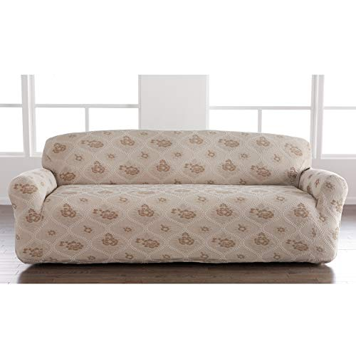 BrylaneHome Floral Stretch Sofa Slipcover, Moonstone