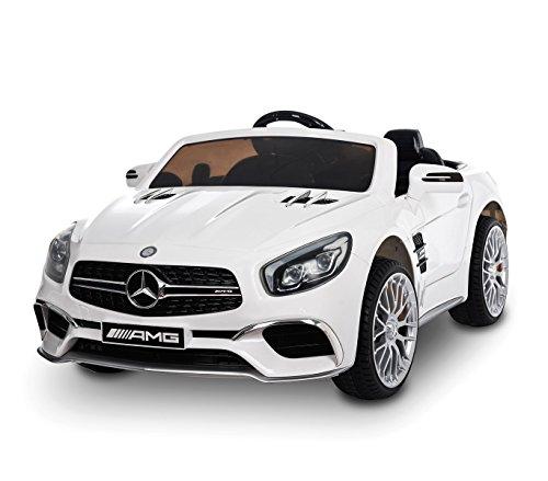 MWS LT 872 Coche eléctrico para niños Mercedes SL 65 AMG con Pantalla Digital (Blanco)